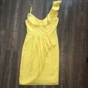"""GIANNI BINI Yellow """"Lucia"""" Ruffled Dress NWT"""